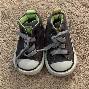 Converse baby boy infant shoes 2 gray green